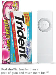 iPod shuffle im Gr�ssenvergleich