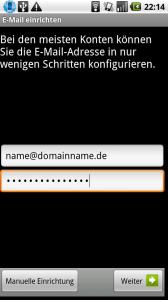 Android Exchange Benutzer und Passwort