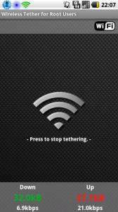 android-wifi-tether auf dem Motorola Milestone