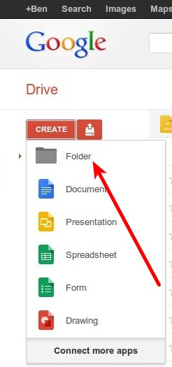 Google Drive Ordner anlegen