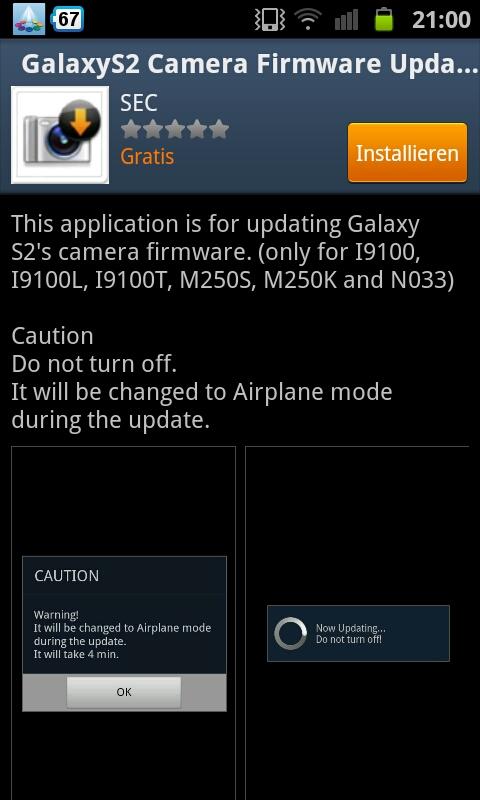 Samsung Galaxy S2 Kamera Firmware Update