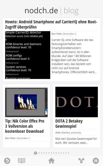 Google Currents Screenshot der App und nodch.de