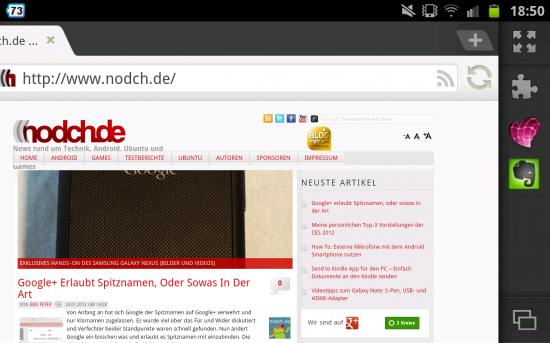 Evernote und Skitch Addon im Dolphin Browser