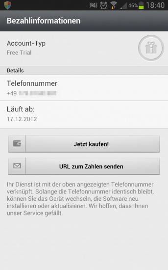 WhatsApp Zahlungsinformationen