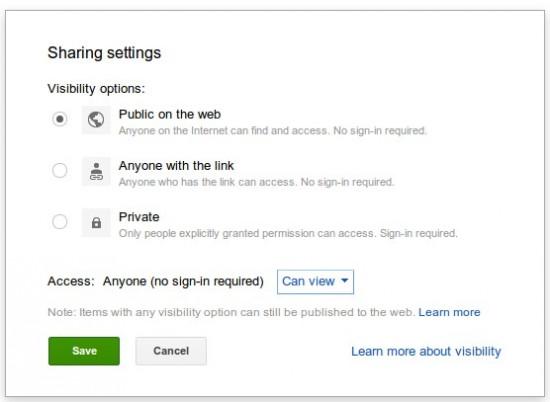 Google Drive öffentlich teilen
