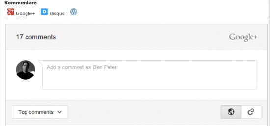Google+ Comments Plugin Reiter