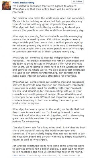 Mark Zuckerberg Ankündigung WhatsApp