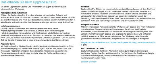 Capture One Pro für Sony Vorteile