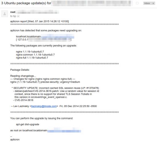 Apticron E-Mail Benachrichtigung