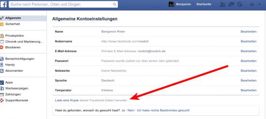 Facebook Anforderung der persönlichen Daten