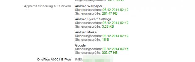 IMEI des Smartphones im Google Dashboard