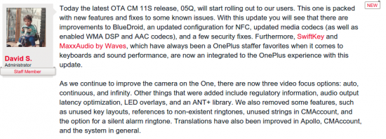 Oneplus Forum Post 05Q Update