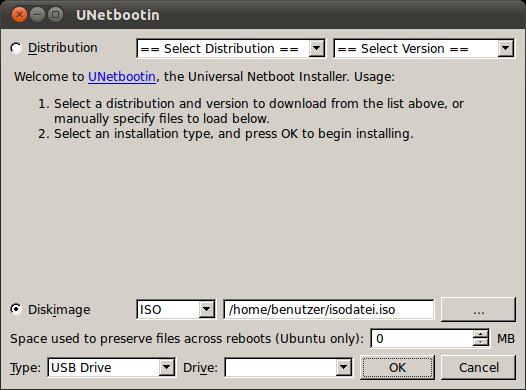 Erstellung USB-Bootstick mit UNetbootin
