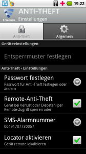 F-Secure Anti-Theft Mobile Einstellungen