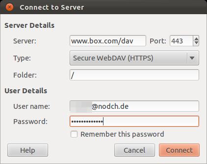 Ubuntu Box.com WebDAV Einrichtung