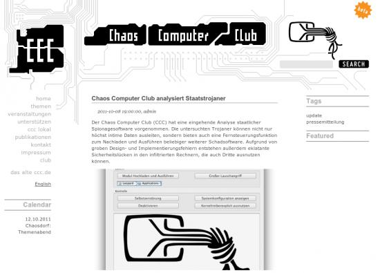 CCC Bundestrojaner (Screenshot der Webseite)