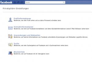 Facebook Privatsphären Einstellungen