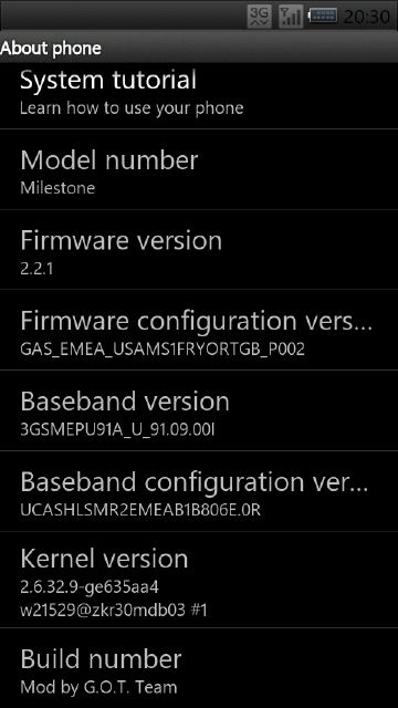 Android 2.2.1 Froyo für Motorola Milestone