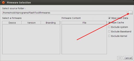 FlashTool Xperia Ubuntu Verzeichnis Auswahl