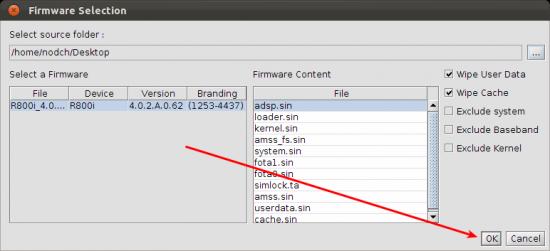 FlashTool Xperia Ubuntu Firmware Auswahl