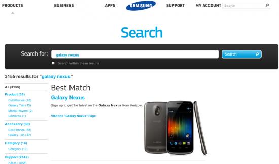 Galaxy Nexus (Screenshot von samsung.com)