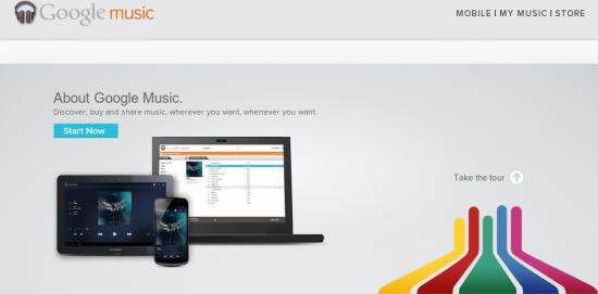 Google Music Screenshot Webseite