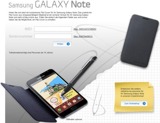 Samsung Galaxy Note Flip Cover kostenlos