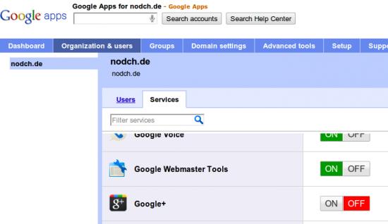 Google+ für Google Apps aktivieren
