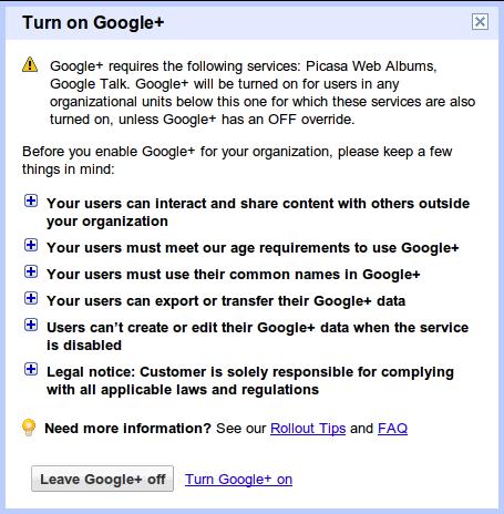 Google+ für Google Apps Hinweise bestätigen