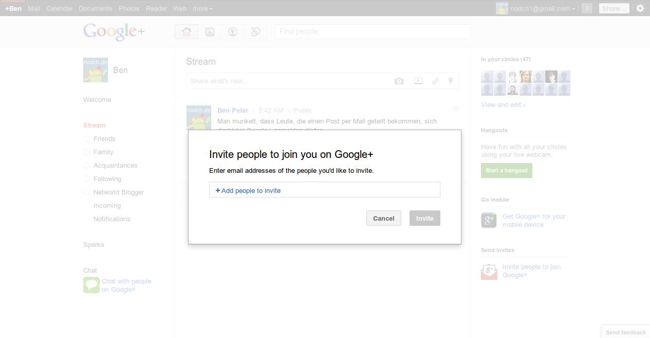 Google Plus Invites