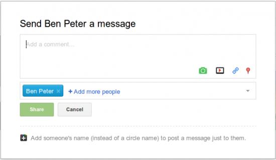 Google+ Nachrichtenerstellung