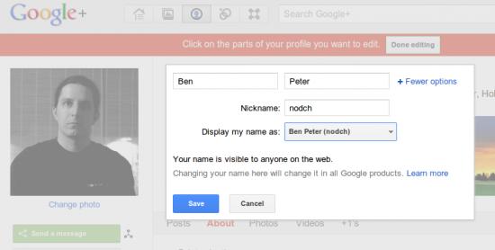 Google+ Spitznamen und Anzeigeoption