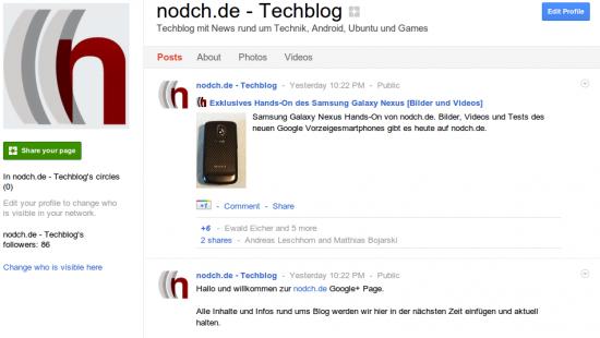 Google+ Page von nodch.de (Screenshot)
