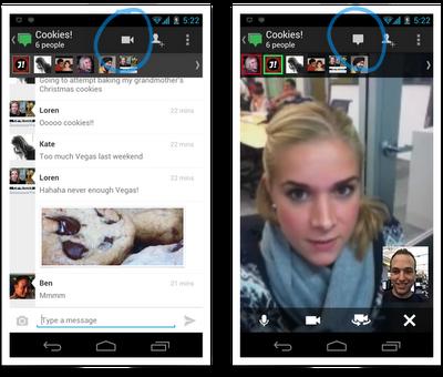 Google+ Hangouts aus der App heraus starten
