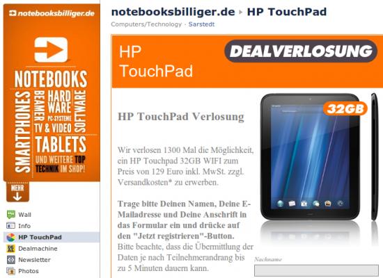 HP Touchpad Kaufoptions-Verlosung bei NBB