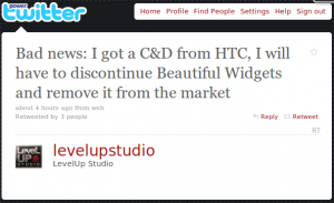LevelUp Studio C&D Twittermeldung