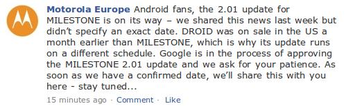 Motorola Facebook Meldung