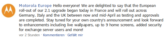 Motorola Facebook Eintrag
