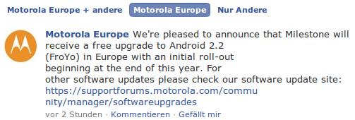 Motorola Europe Facebookmeldung zu Android 2.2 Froyo auf dem Milestone