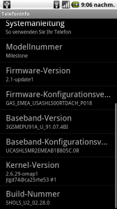 Android 2.1 auf Motorola Milestone (Foto: Goddchen's Blog)