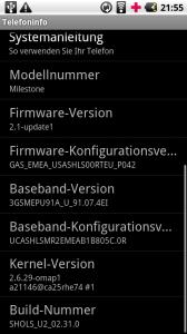 Android 2.1 Final auf Motorola Milestone