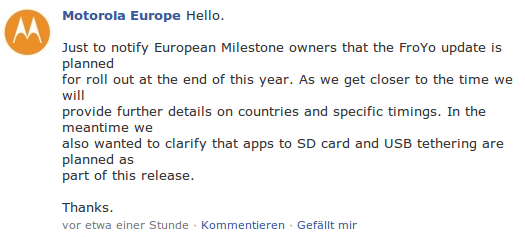 Motorola Europe Facebook Meldung