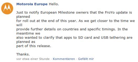 Motorola Europe Facebook Meldung