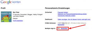 Google Accounts Aktivierung von Multiple=