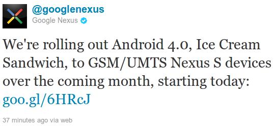 Twitterankündigung von @googlenexus