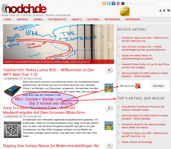 NEU: Google+ Badge und Topbeiträge der Woche