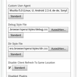 User Agent in Opera Mobile ändern (Schritt 5)