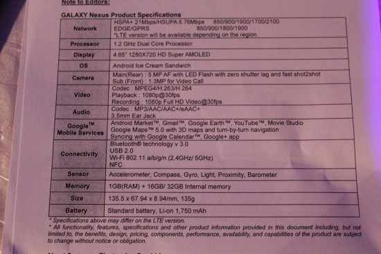 Galaxy Nexus Specs (Foto: phandroid.com)