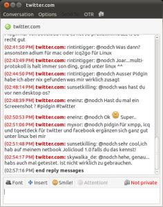 Twitter für Pidgin: Anzeige der Replies