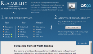 Readability Experiment von arc90